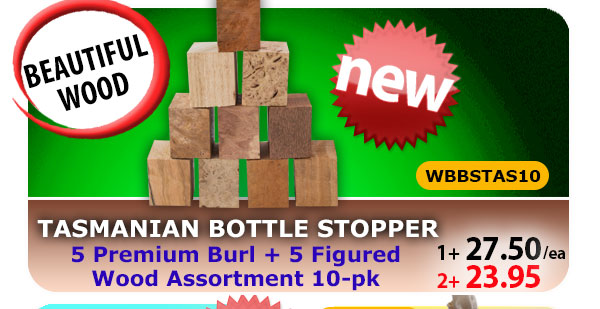 Tasmanian Wood Bottle Stopper 10pk