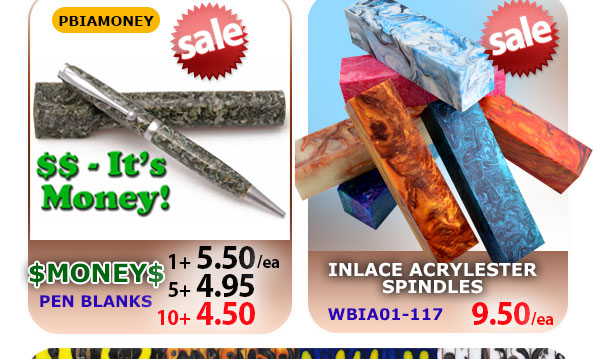 Money Inlace Pen Blanks and Inlace Spindles on Sale