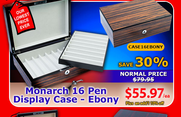 Monarch 16 Pen Ebony Display Case