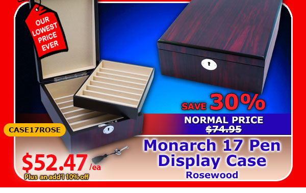 Monarch 17 Pen Display Case - Rosewood