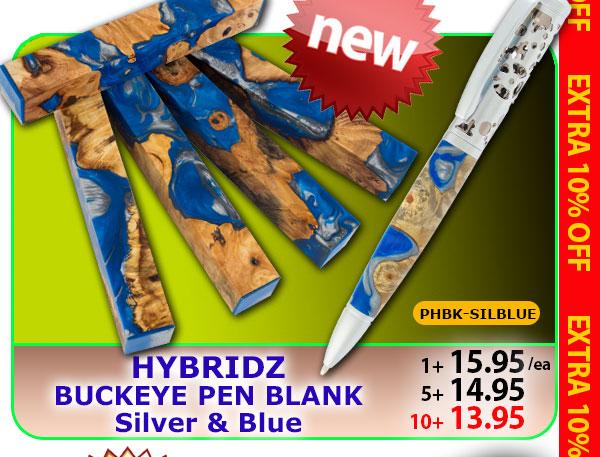 NEW Hybridz Buckeye Pen Blank in Silver & Blue