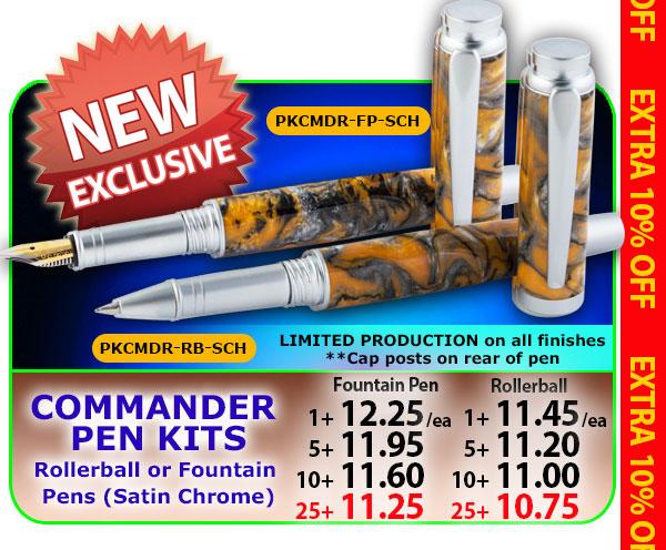 Commander Pen Kits in Satin Chrome
