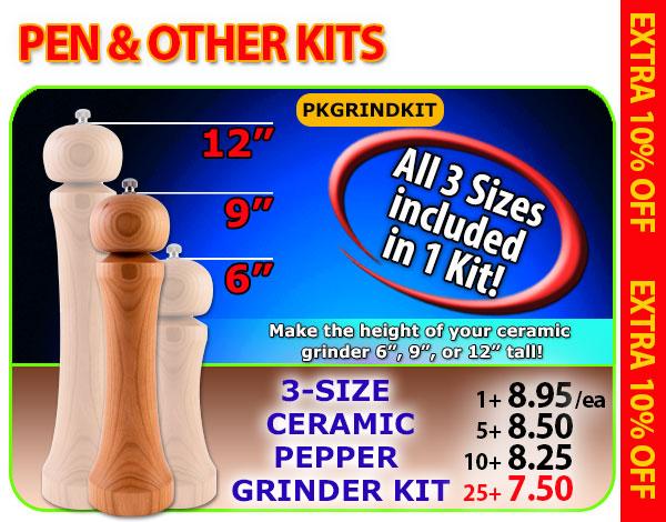 3-size Ceramic Pepper Grinder Kit