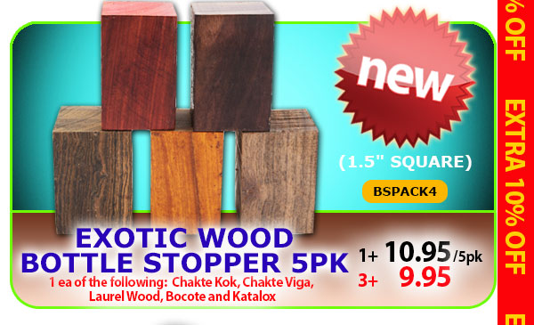 Exotic Wood Bottle Stopper 5pk Chakte Kok, Chakte Viga, Laurel Wood, Bocote, Katalox
