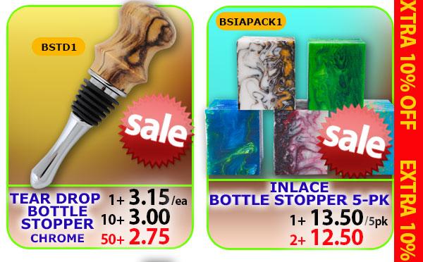 Tear Drop Bottle Stopper or Inlace Stopper Blank 5pk