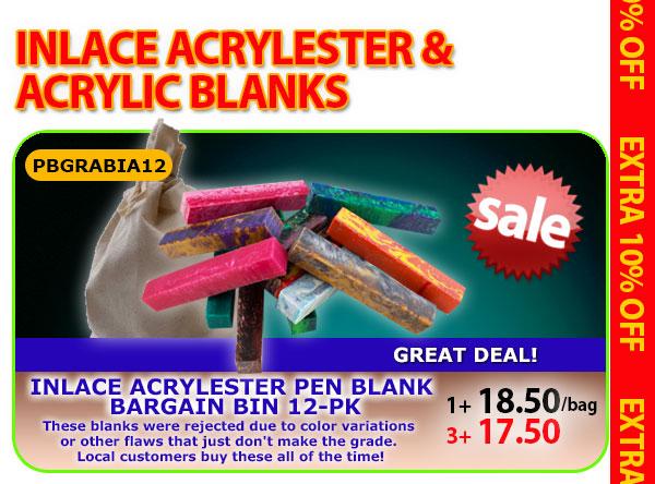 Inlace Acrylester Pen Blank Bargain Bin 12pk