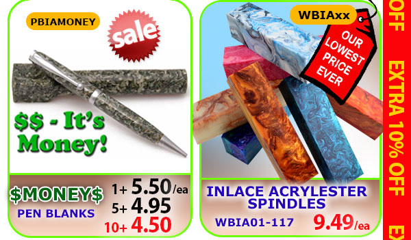 Money Pen Blanks or Inlace Acrylester Spindles