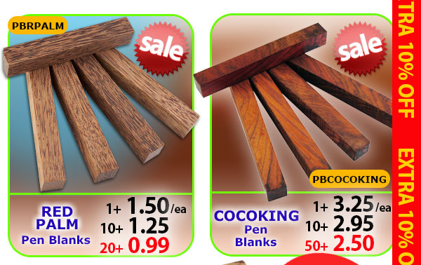 Red Palm or Cocoking Pen Blanks
