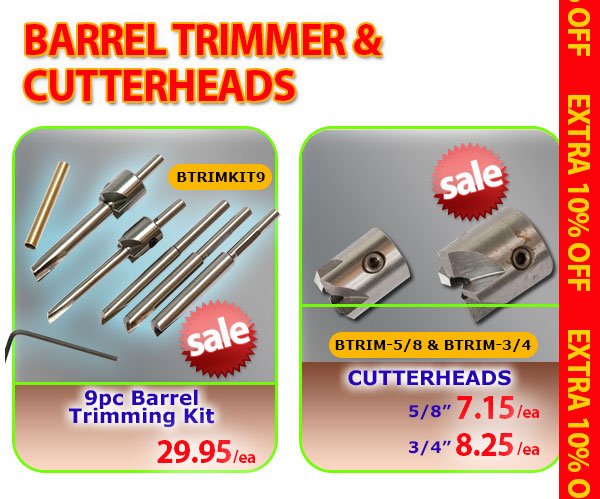 9pc Barrel Trimming Kit or Cutterheads